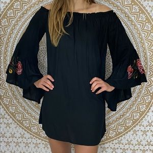 Feathers Black Embroidered Bell Sleeve Tunic